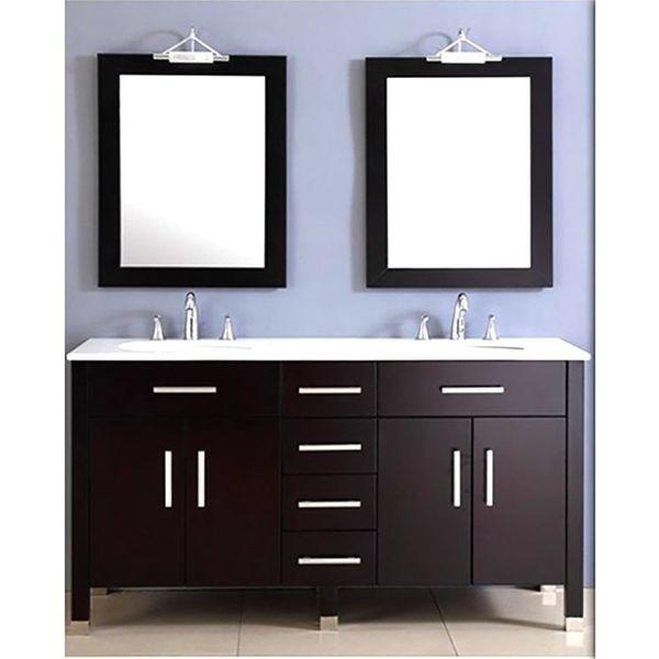 72-Inch Espresso Double Basin Sink Bathroom Vanity Set