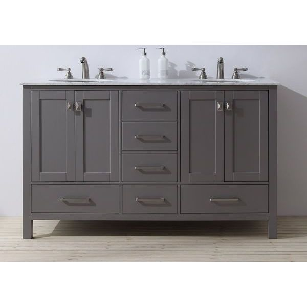 Stufurhome 60-inch Malibu Grey Double Sink Bathroom Vanity, Gray