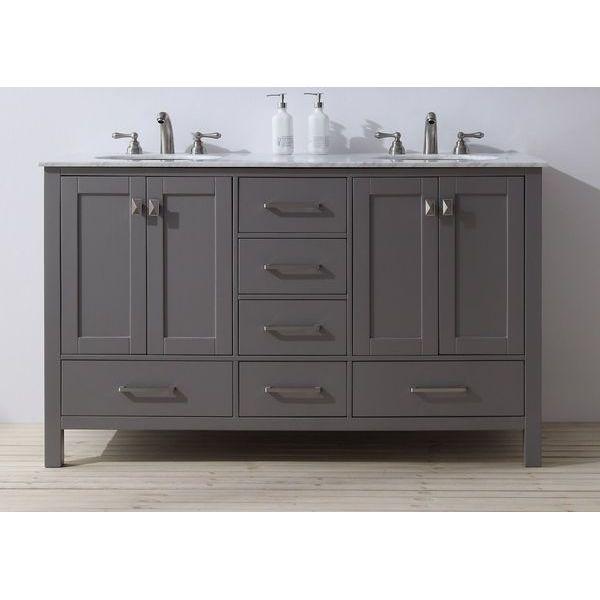 Stufurhome 60-inch Malibu Grey Double Sink Bathroom Vanity, Gray