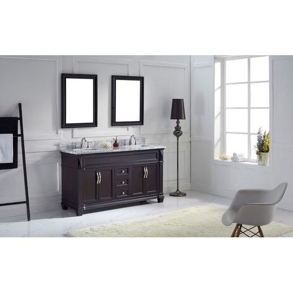 Virtu USA Transitional 60-Inch Double Sink Bathroom Vanity Set, Espresso