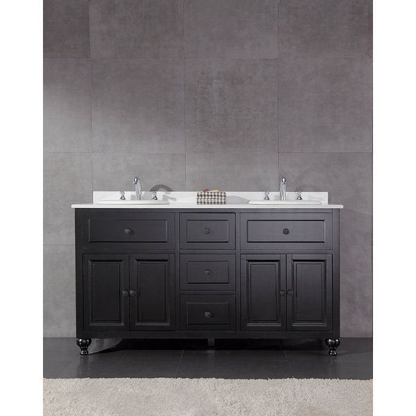 60-inch Bathroom Vanity Cabinet Double Ceramic Top with Integrated Sink Faucet