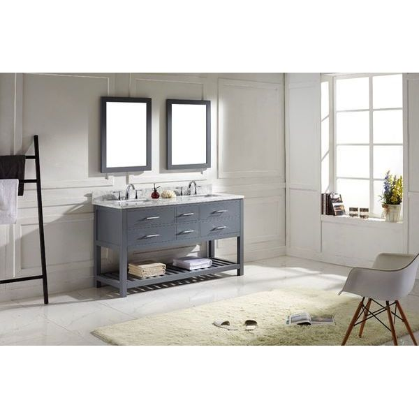 Virtu USA Transitional 60-Inch Double Sink Bathroom Vanity Set, Grey