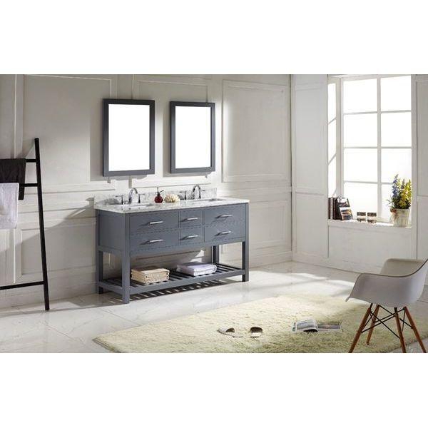 Virtu USA Transitional 60-Inch Double Sink Bathroom Vanity Set, Grey