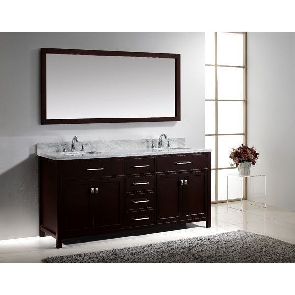 Virtu USA Caroline 72-Inch Bathroom Vanity with Double Square Sinks