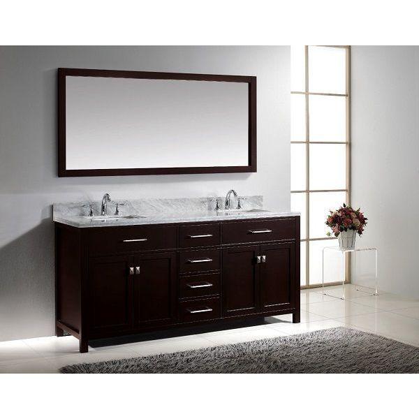 Virtu USA Caroline 72-Inch Bathroom Vanity with Double Square Sinks