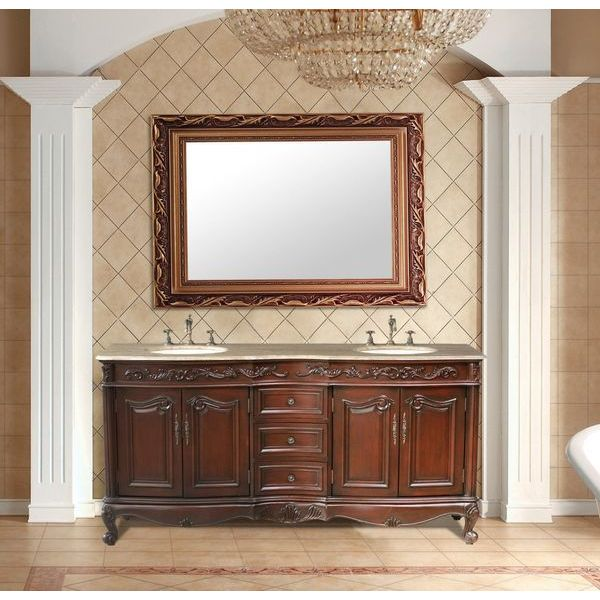 Stufurhome 72-Inch Saturn Double Vanity in Dark Cherry Finish with Marble Top in Travertine with White Undermount Sinks