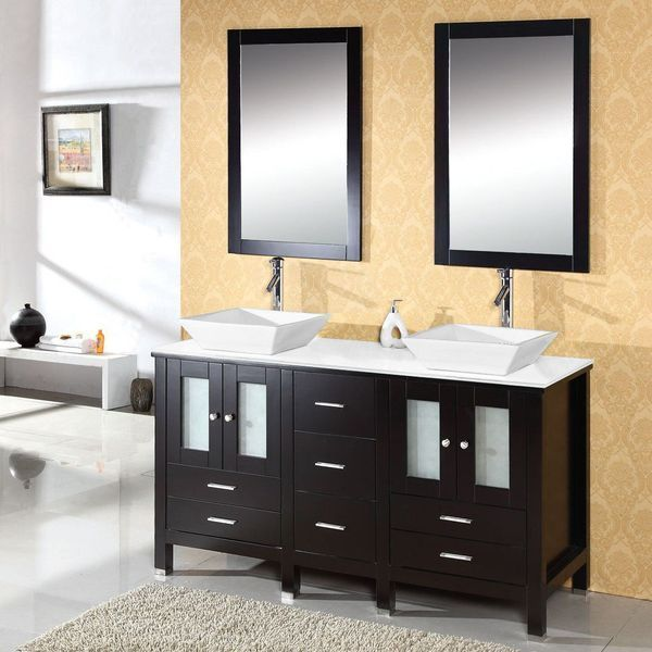 Virtu USA Bradford 60-Inch Bathroom Vanity with Double Sinks, Espresso Finish