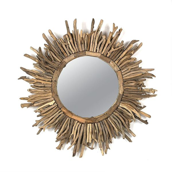 Creative Co-Op Round Driftwood Sunburst Mirror