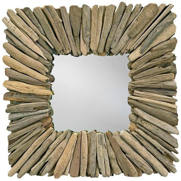 Currey and Company Square Natural Driftwood Mirror