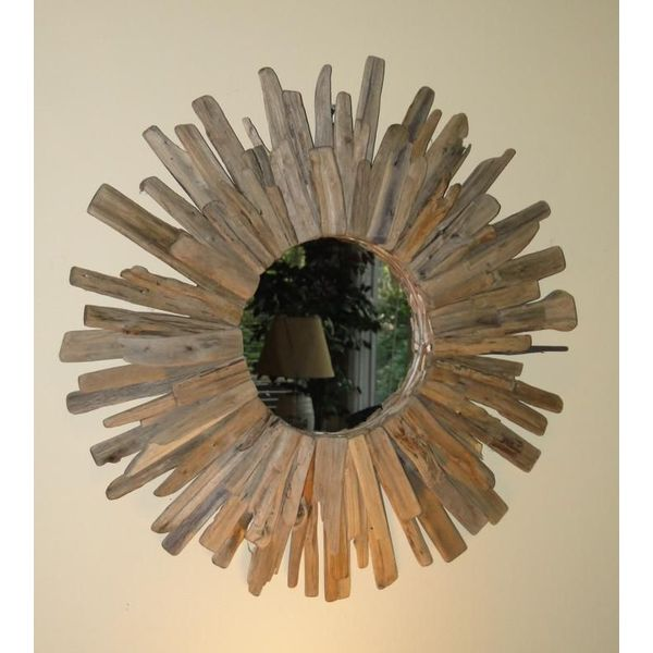 Nature Starburst Beach Round Driftwood Mirror