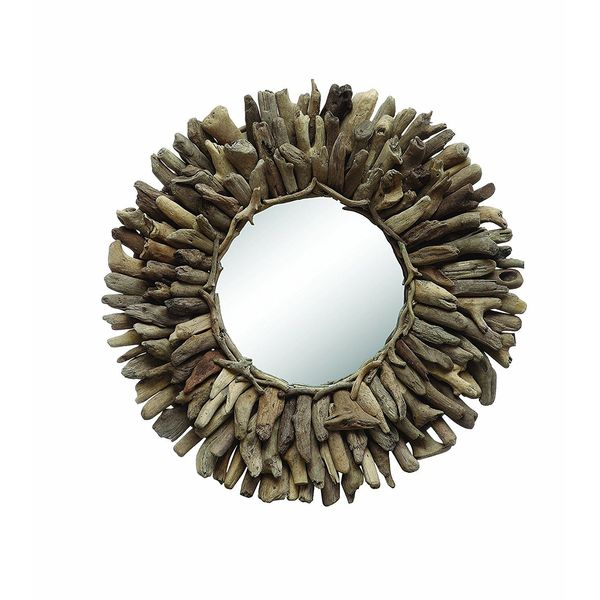Creative Co-Op Round Driftwood Framed Mirror