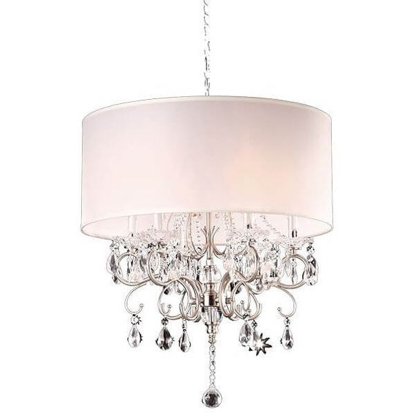 Modern Contemporary Crystal Silver Drum Shade Chandelier