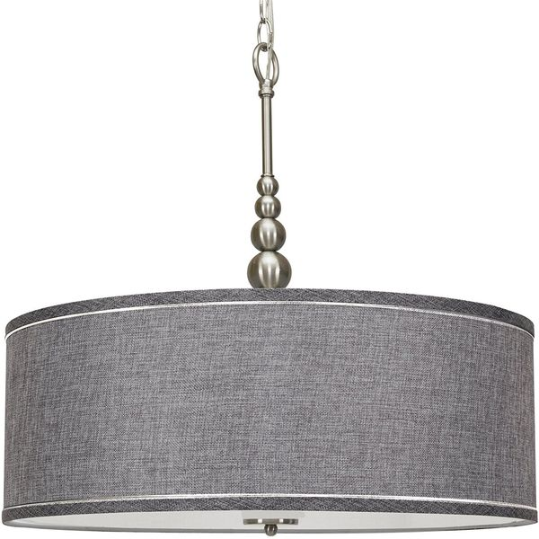 Kira Home Adelade 22-inch Modern Drum Shade Chandelier, Brushed Nickel Finish