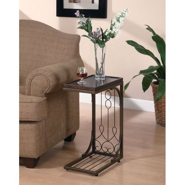 Coaster Snack Table with Burnished Copper Base, Brown