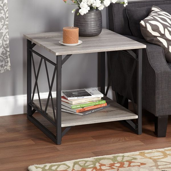 Metro Shop Seneca XX Black/Grey Reclaimed End Table
