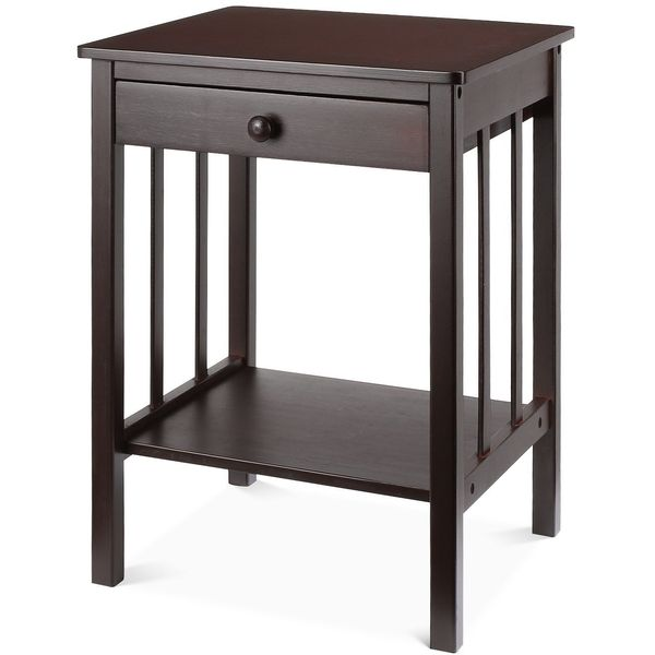 HOMFA Espresso Nightstand with Drawer and Shelf
