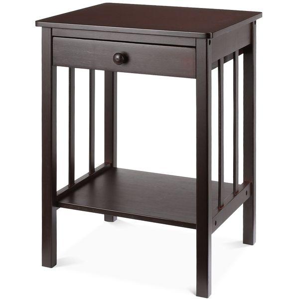 HOMFA Espresso Nightstand with Drawer and Shelf