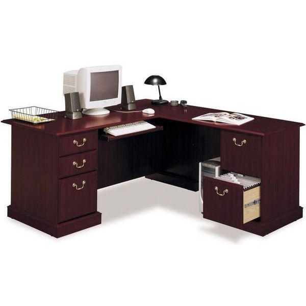 Bush Furniture Saratoga Harvest Cherry L-Shape Wood Executive Desk