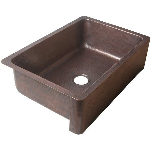 ECOSINKS Single Bowl Farmhouse Kitchen Sink, Antique Copper