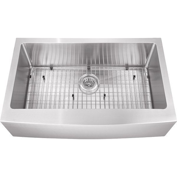 Farmhouse Stainless Steel Sink with Grid and Strainer