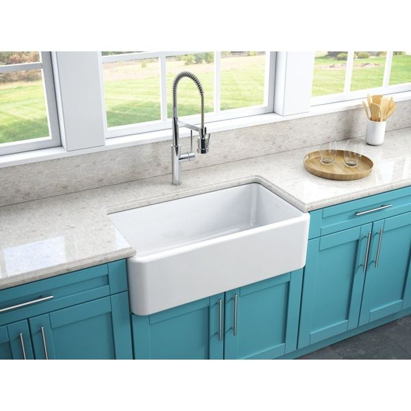KOHLER Whitehaven Self-Trimming Apron Front Single Basin Sink with Tall Apron, White