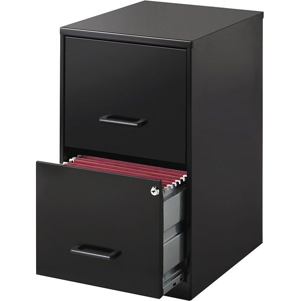 Lorell Deep 2-Drawer File Cabinet, Black