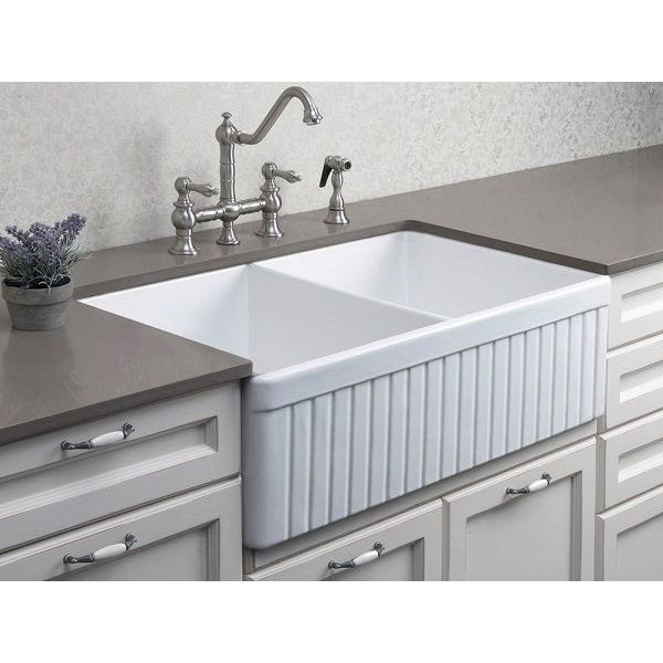 ALFI White 32-Inch Fluted Double Bowl Fireclay Farmhouse Kitchen Sink, White