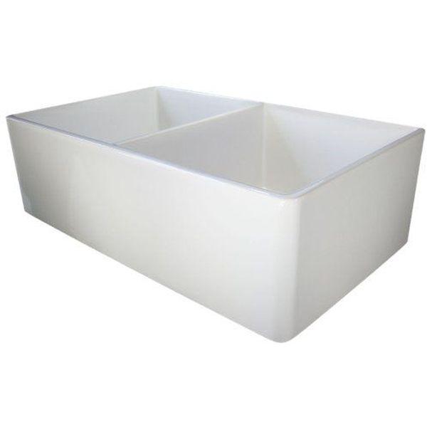 ALFI 32-Inch Smooth Double Bowl Fireclay Farmhouse Kitchen Sink, White