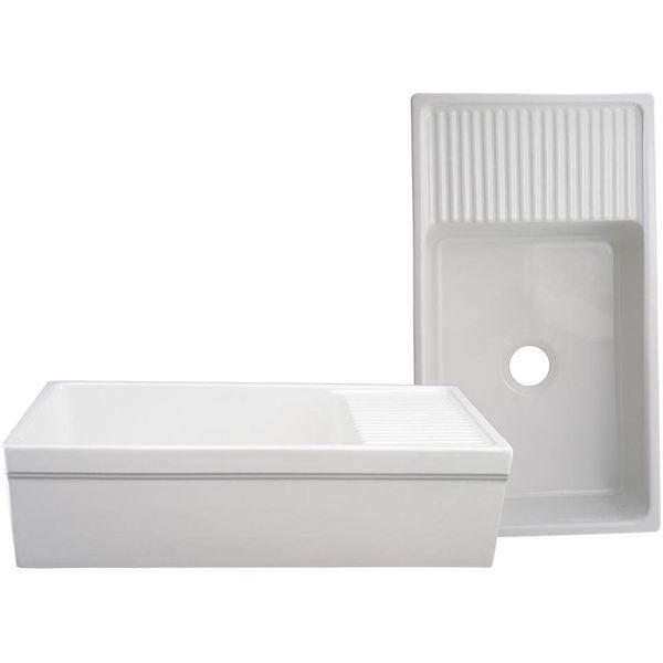 Whitehaus Quatro Alcove 36-Inch Reversible Fireclay Sink with Apron,Black