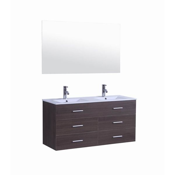 36-Inch Bathroom Solid Wood Wall Mount Vanity with Ceramic Top integrated Sink