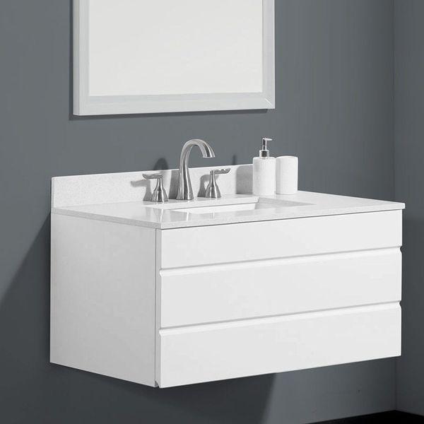 WindBay 36-inch Floating Bathroom Vanity Sink Set, Dark Grey