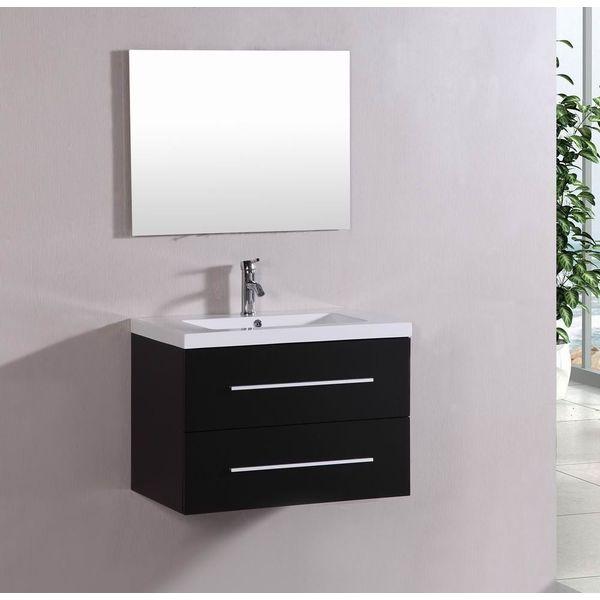32-inch Modern Wall Mount Bathroom Vanity Set, Espresso