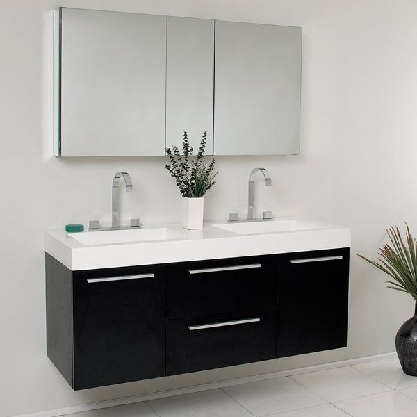 Fresca Bath Opulento Double Vanity Sink with Medicine Cabinet, Black