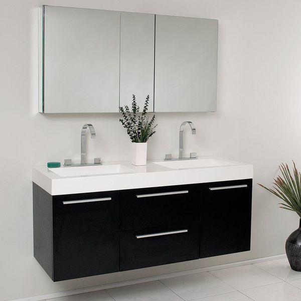 Fresca Bath Opulento Double Vanity Sink with Medicine Cabinet, Black