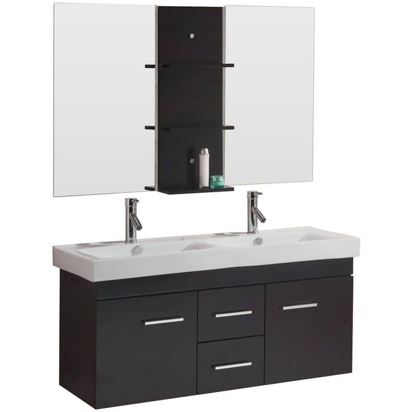 Virtu USA 48-Inch Wall-Mounted Double Sink Bathroom Vanity
