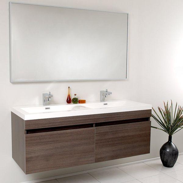 Fresca Largo Gray Oak Modern Bathroom Vanity with Wavy Double Sinks