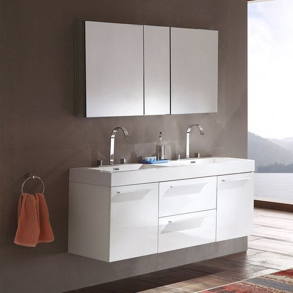 Fresca Bath Opulento Double Floating Bathroom Vanity Sink with Medicine Cabinet, White