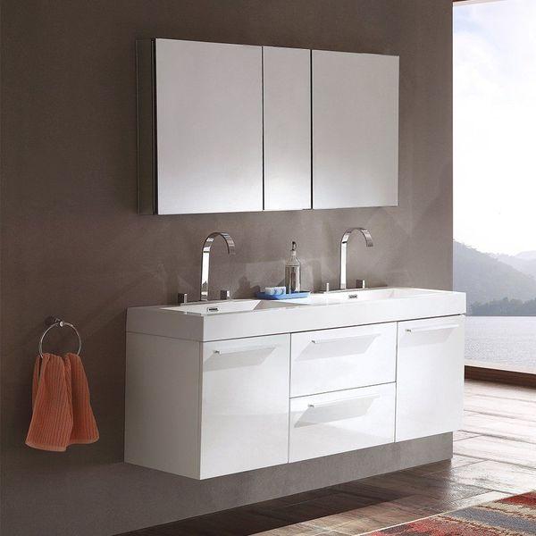 Fresca Bath Opulento Double Floating Bathroom Vanity Sink with Medicine Cabinet, White