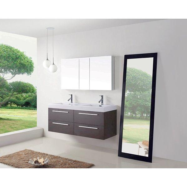 Virtu USA 54-Inch Finley Double Sink Floating Bathroom Vanity, Wenge