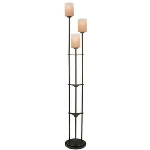 Lite Source Bess Dark Bronze 3-Light Floor Lamp with Amber Glass Shades