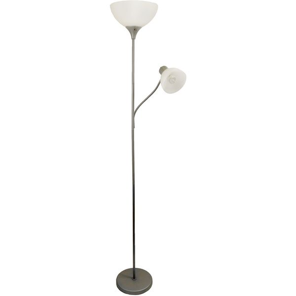 Simple Designs Floor Lamp with Reading Light, Silver