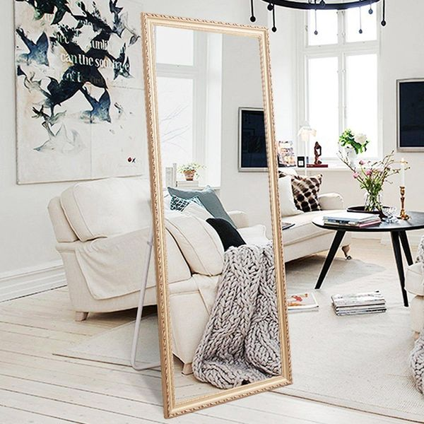 H&A Large Rectangle Wooden Floor Mirror