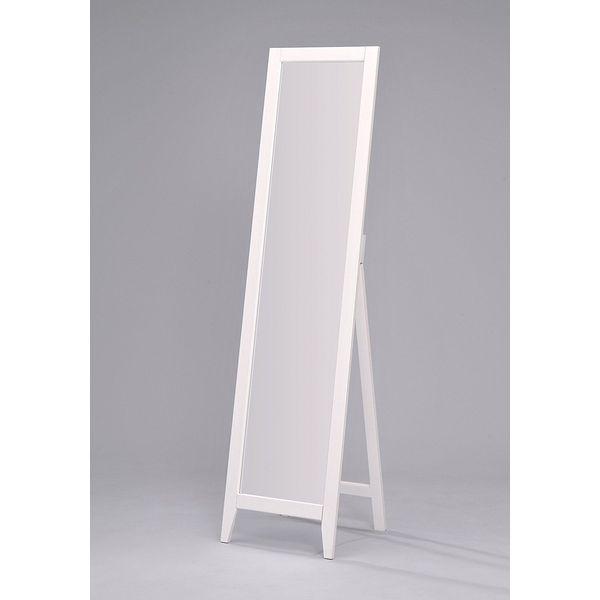 Kings Brand White Finish Solid Wood Frame Floor Mirror