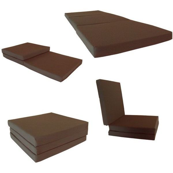 Brown Shikibuton Trifold Foam Bed