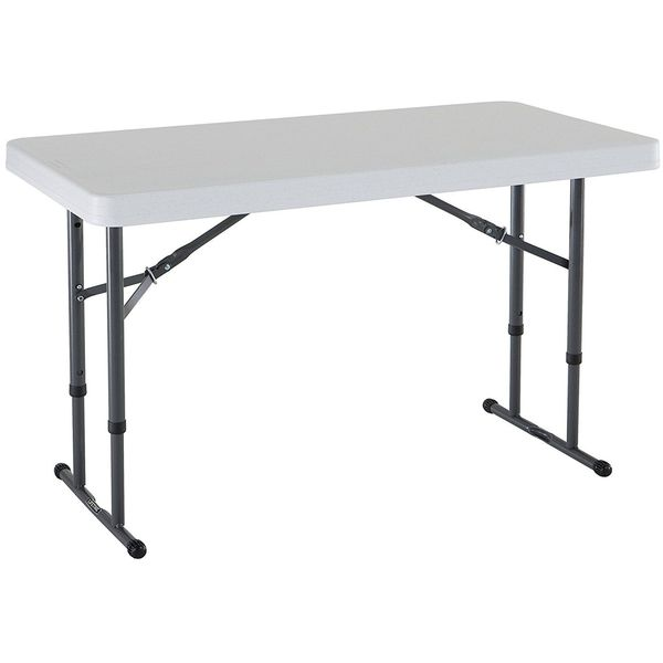 Lifetime 4-Foot Commercial Adjustable Height Folding Table, White Granite Tabletop with Gray Frame