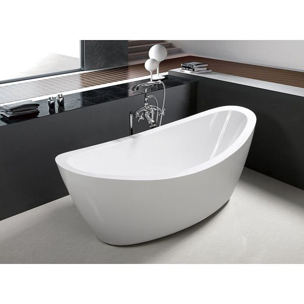 Luxury Freestanding Soaking Bathtub with Overflow, White Matte