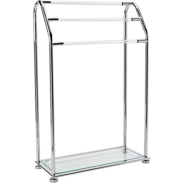 Organize-It-All Acrylic 3-Bar Free Standing Towel Rack with Bottom Shelf