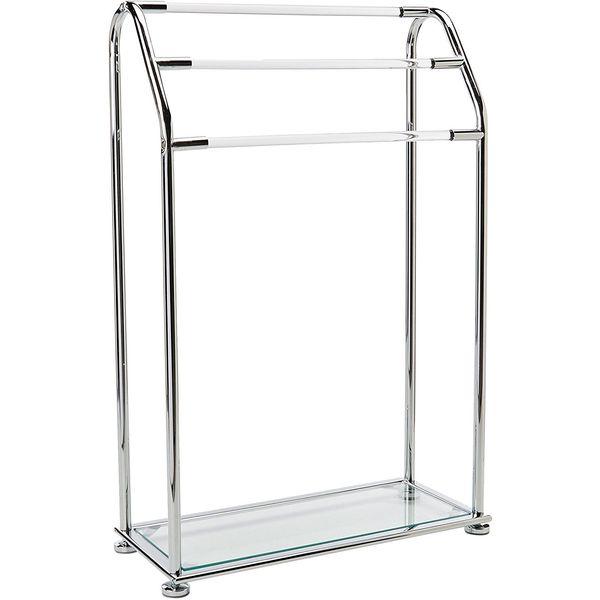 Organize-It-All Acrylic 3-Bar Free Standing Towel Rack with Bottom Shelf