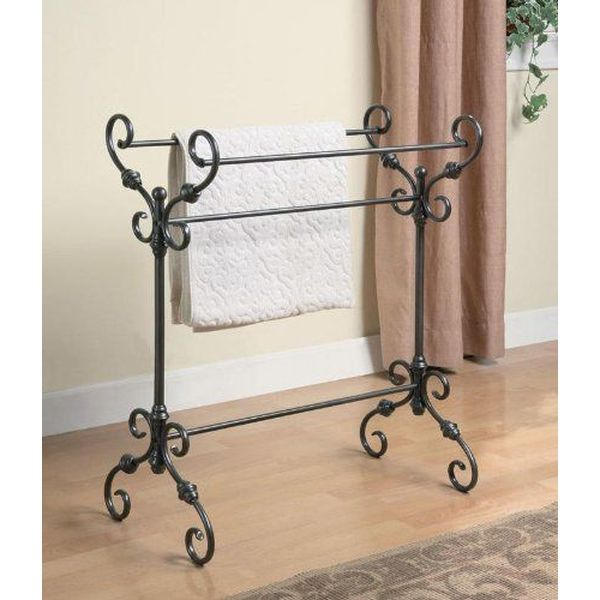 Wildon Home Metal Free Standing Towel Rack in Black