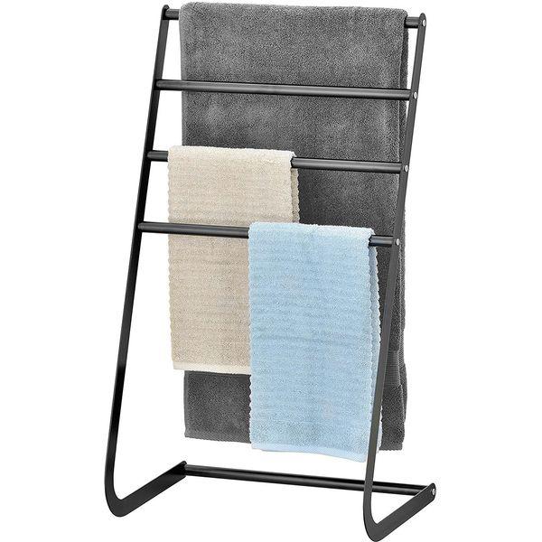 MyGift Freestanding Metal Towel Rack, Black